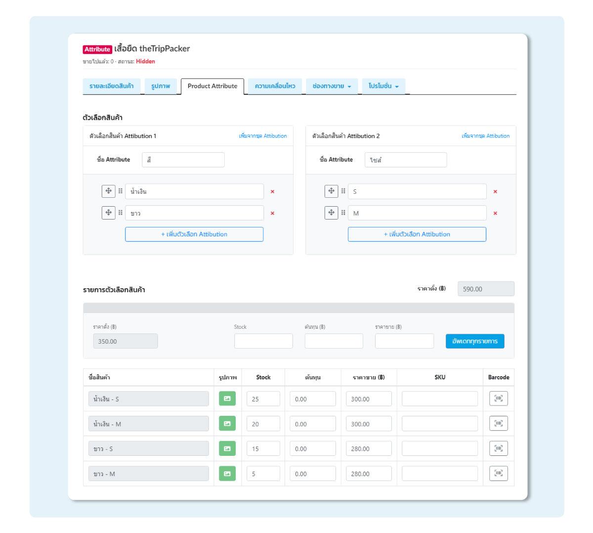ตัวอย่างรายการสินค้าแบบ Attribution ที่สามารถดูรายละเอียด และเพิ่มเติมข้อมูลได้ตามต้องการ