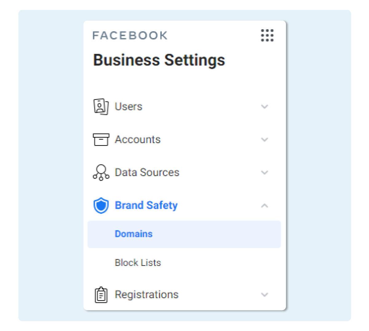 Click เลือก Domain ในเมนู Brand Safety จากหน้า Business Settings