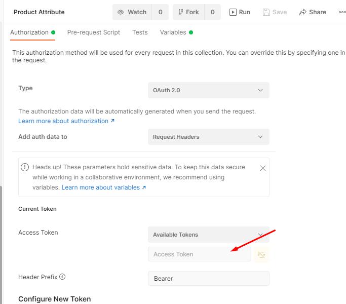 ใส่ Access Token ที่ได้จากการ Authenticate