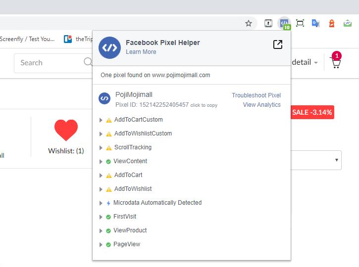 ตัวอย่างการใช้ Chrome Extension ที่ชื่อ Pixel Helper เพื่อแสดง Events บนหน้าสินค้า