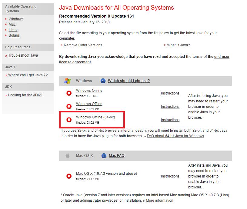 how to install java x64 bit on my computer flux rh help mc flux com java manuel 64 bit manual java download 64 bit