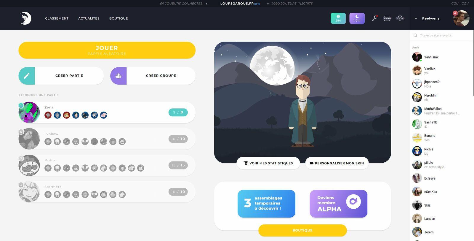 Interface de Wolfy à son lancement
