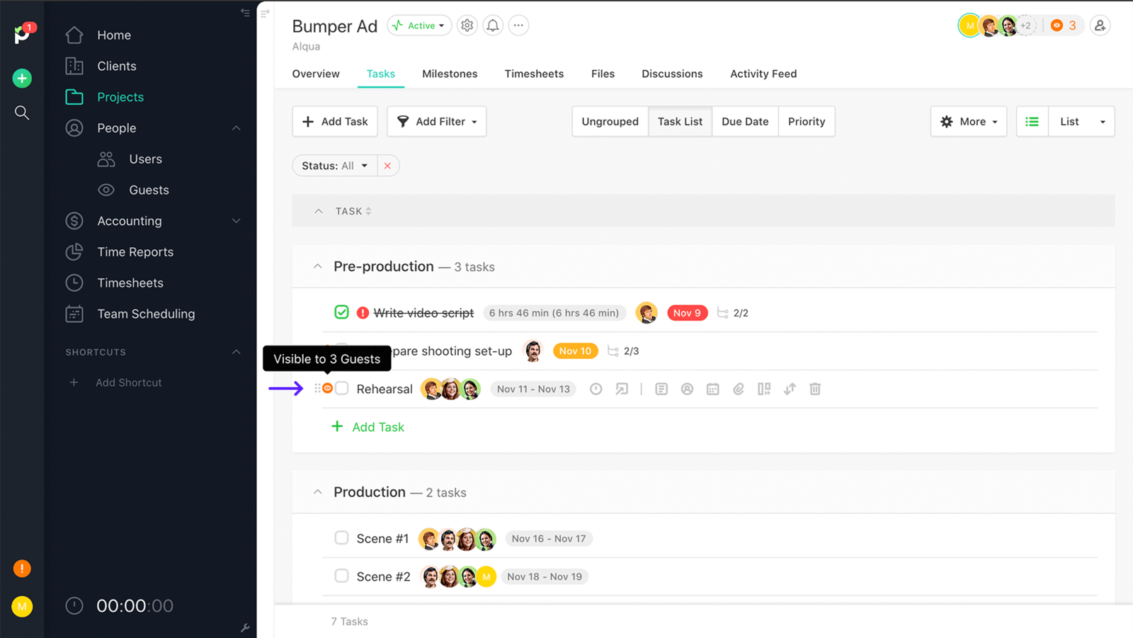 Task visibility in Paymo