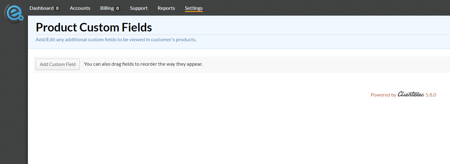 Product Custom Fields - Empty