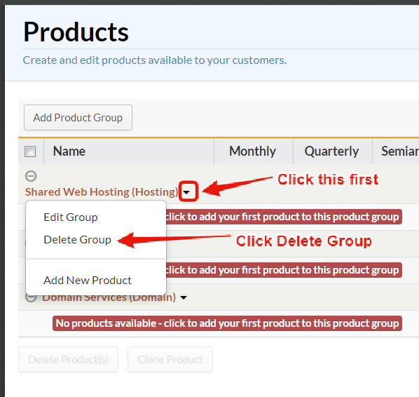 Delete Product Groups