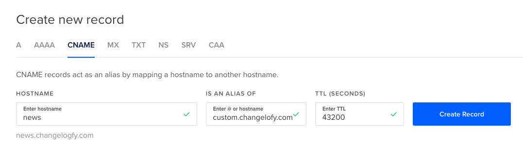 Changelog Page Cname DNS