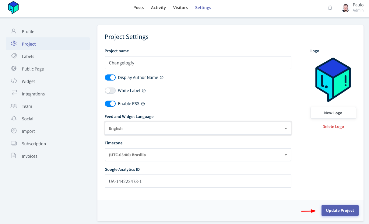 Save Project Settings