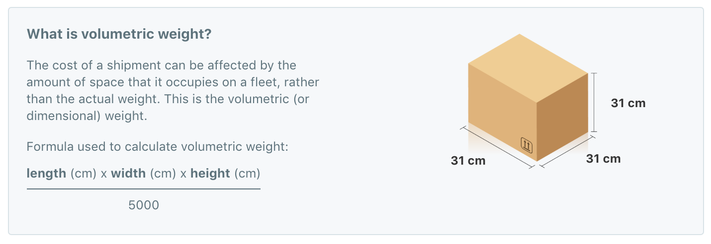 Volumetric weight