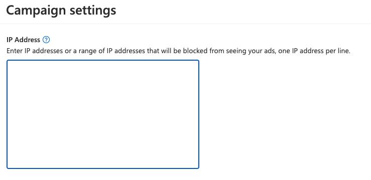Campaign Settings - IP Address