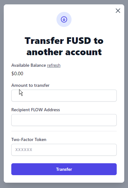 Entering the amount and FLOW address