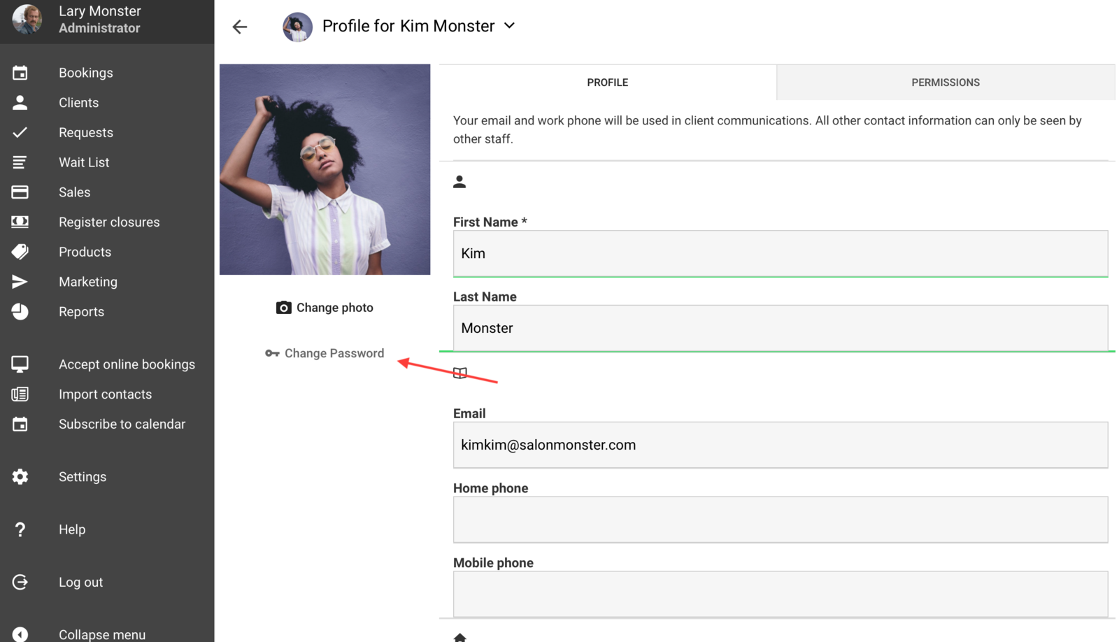 Adding/changing a staff password
