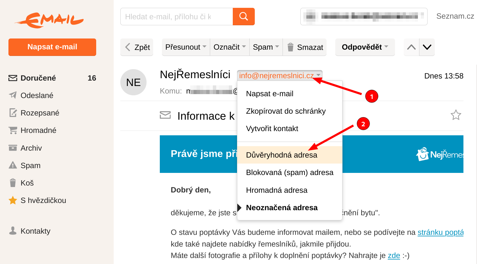 Přidání mailu mezi Důvěryhodné adresy