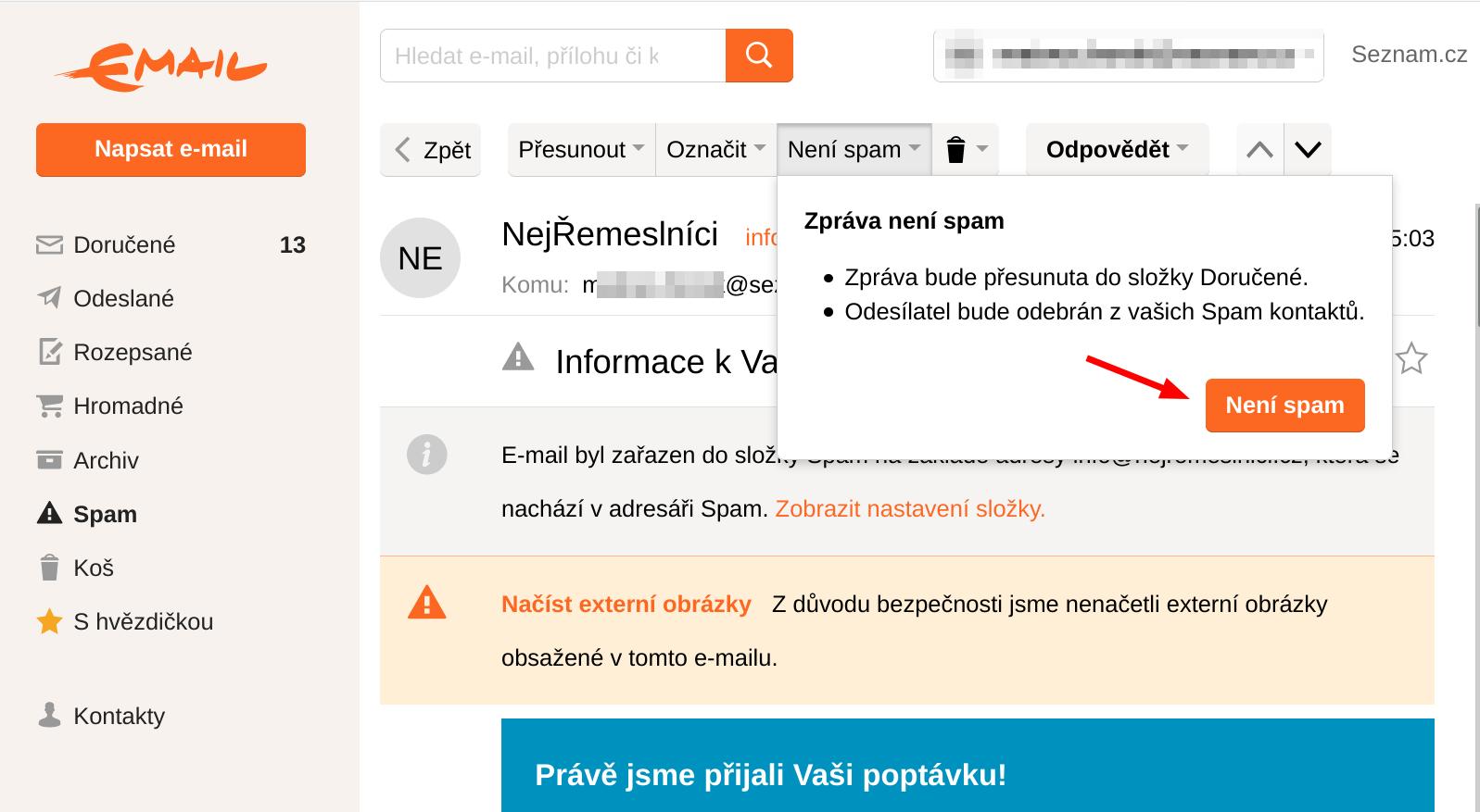 Označení mailu, že nejde o spam