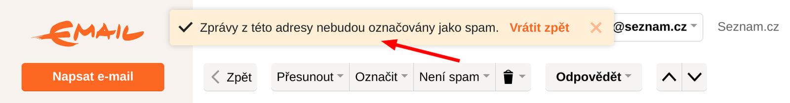 Potvrzení vynětí mailu ze složky Spam