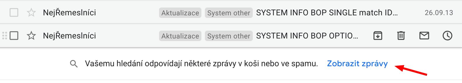 Vyhledávání mailu na Gmailu i ve Spam složce