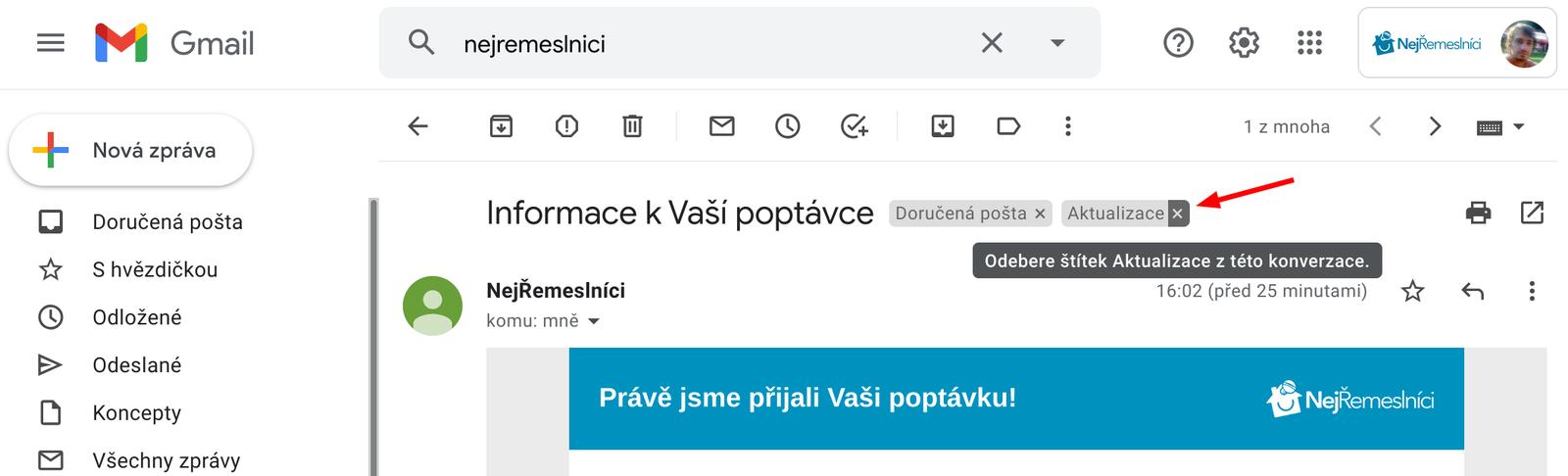 Přesun mailu do Primární složky v Doručené poště