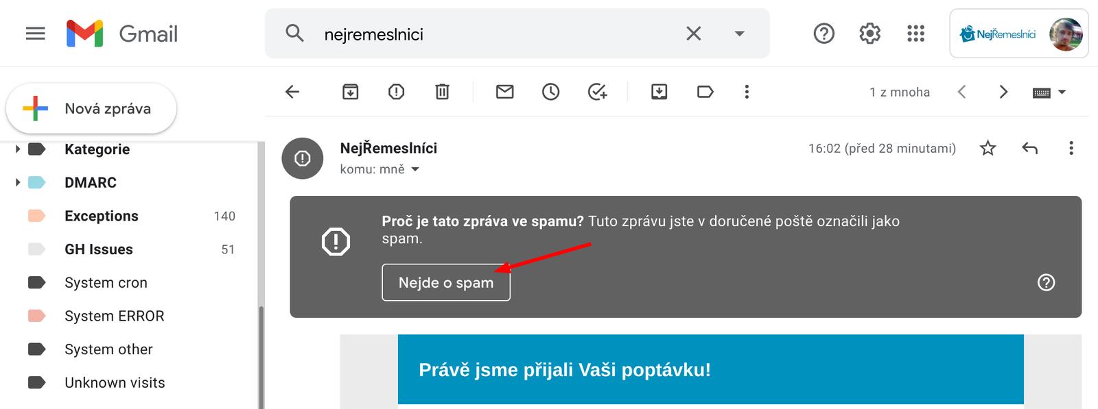 Vyjmutí mailu ze složky Spam