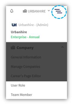 User role and team member menu