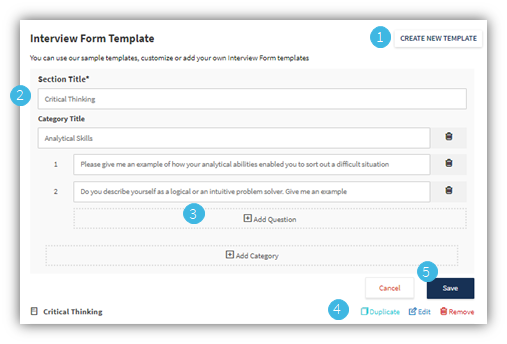 Create interview form template