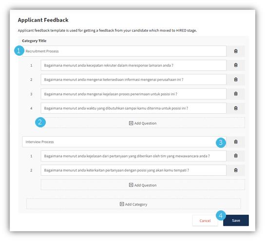 Create applicant feedback template