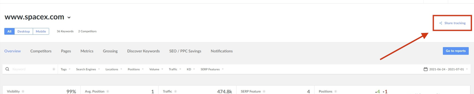 share tracking button