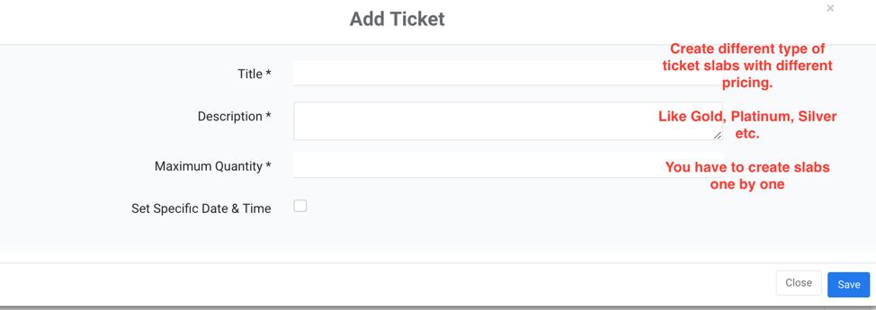 Click To Add Event Tickets