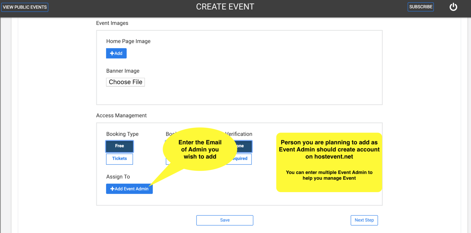 Add Event Admin to manage your event