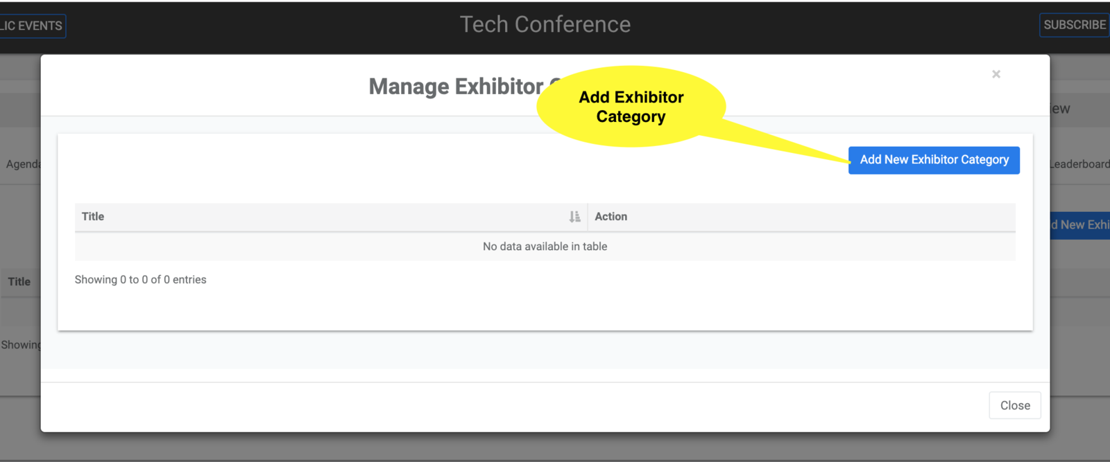 Add Exhibitor Category