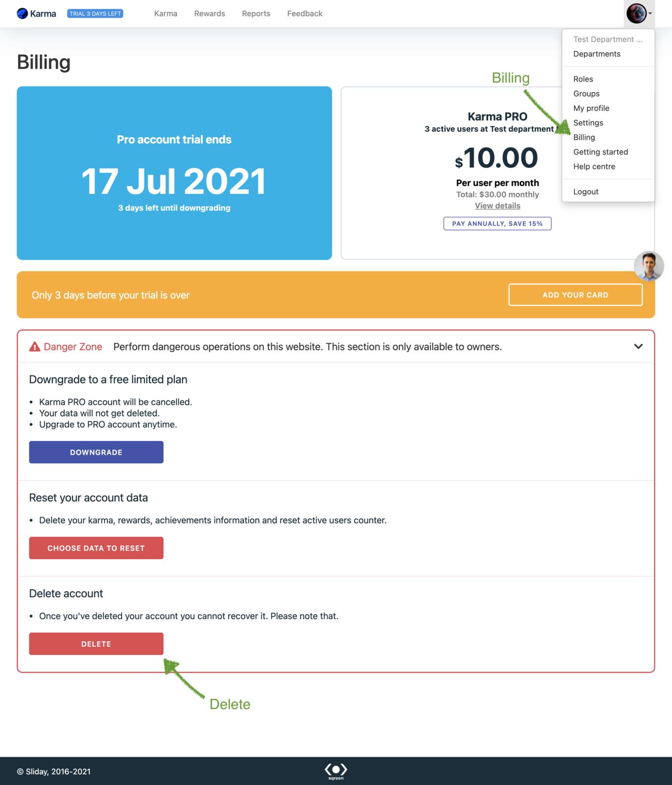 How to delete Karma from Slack