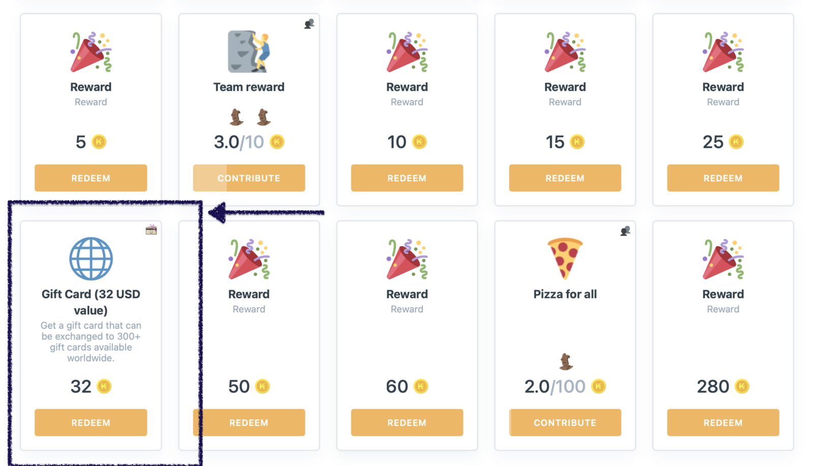 This is how Gift Card reward is displayed on the web panel