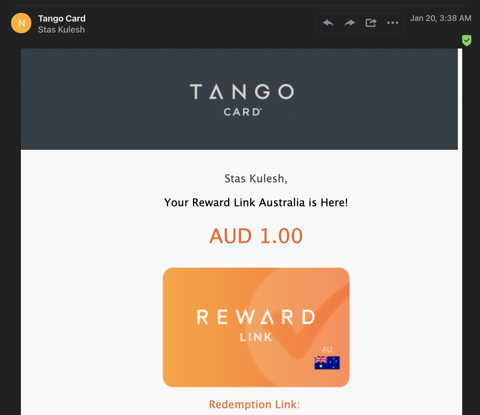 Sample 1 AUD card redeem email