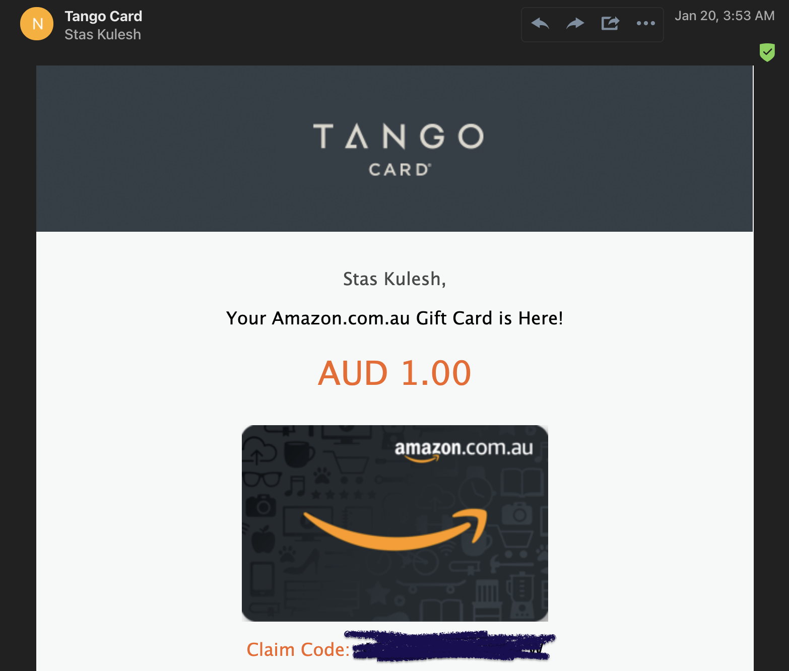 `Claim your code` email from one of the gift cards provider