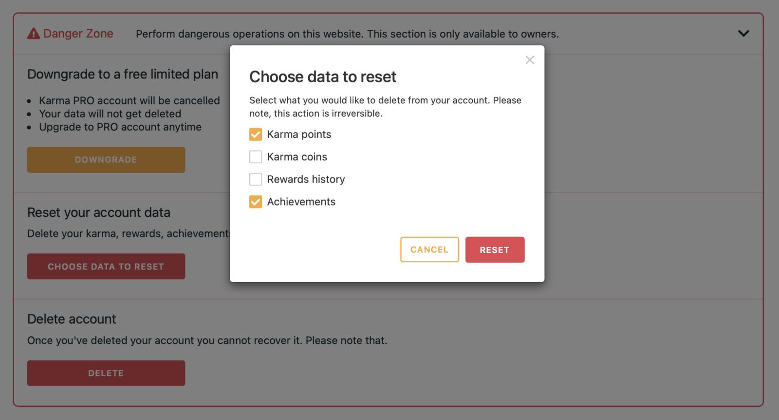 "Modal window ""Choose data to reset"""