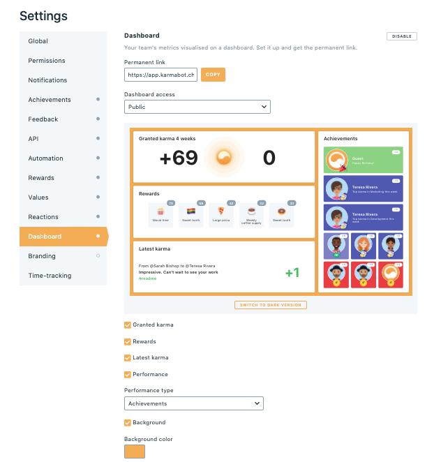Achievements widget on Dashboard