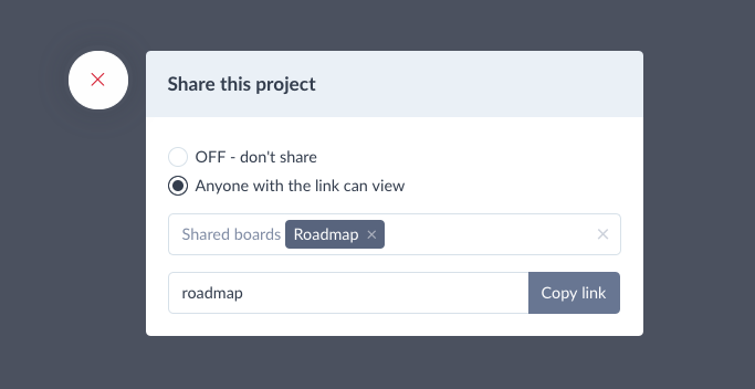 Project tasks share popup