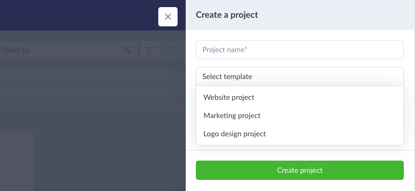Applying a template to a project