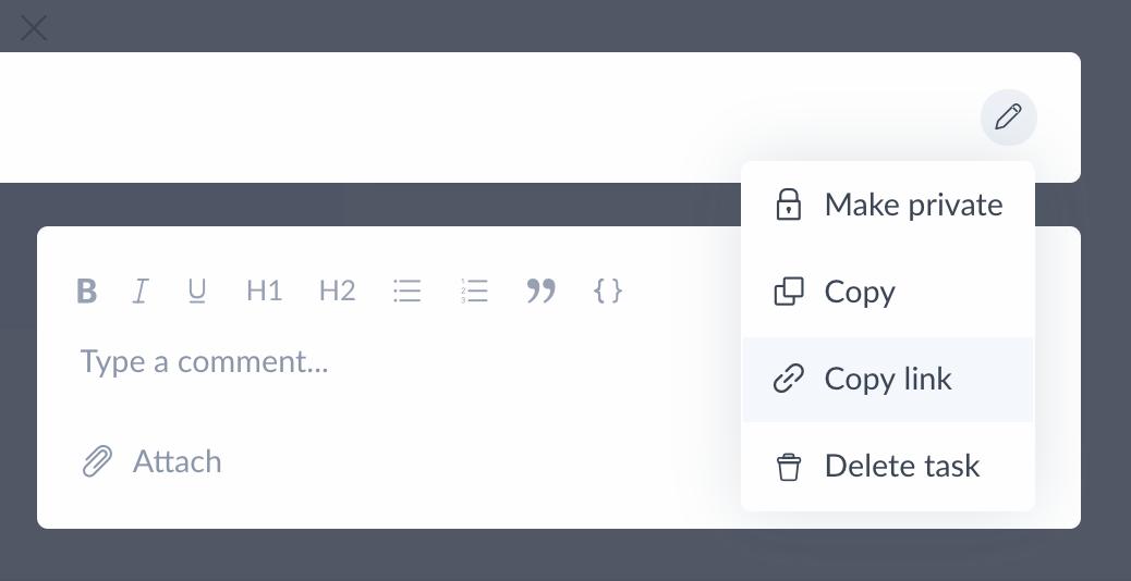 copy task url or link