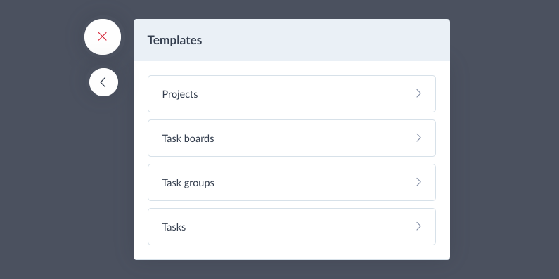 project and tasks templates manager