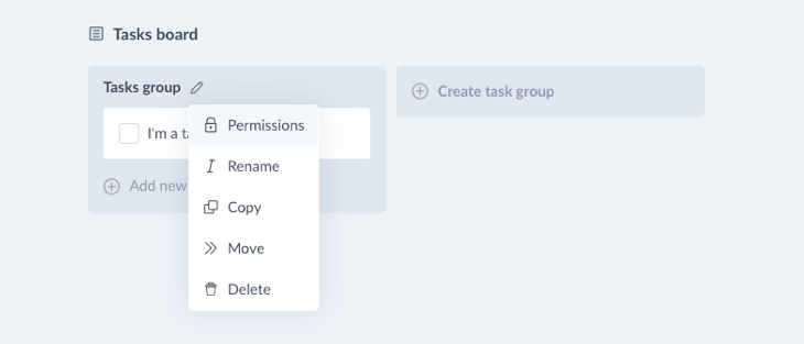 Change task board permissions