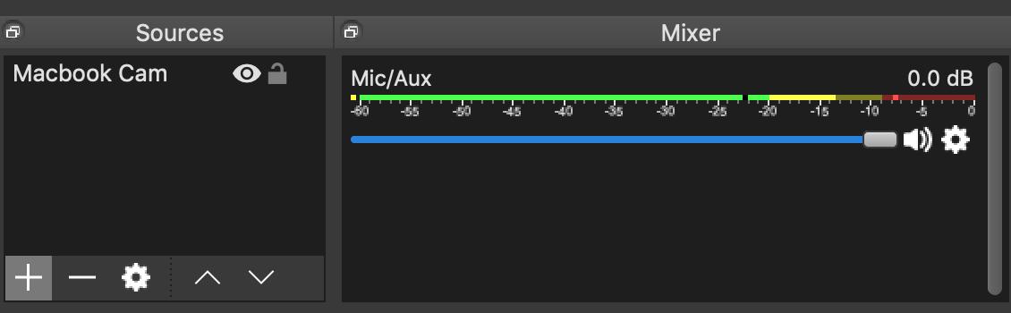 Única fuente de audio en el OBS Mixer