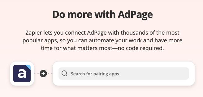 AdPage koppelen met Zapier