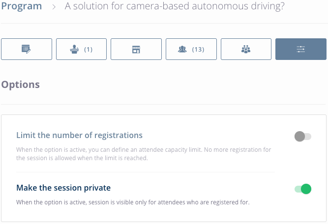 Event Data > Program > Session > Parameters