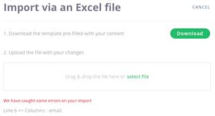Données de l'événement > Importer via Excel > Erreur d'import