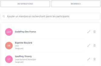Données de l'événement > Exposants > Page exposant > Membres