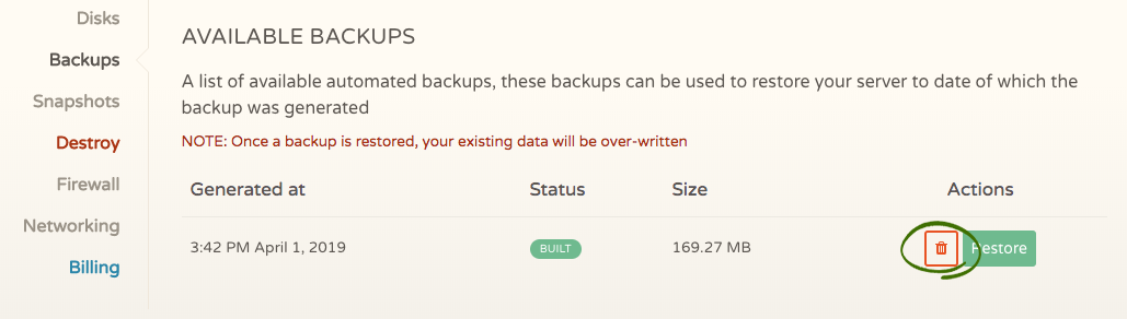 For automated backup files