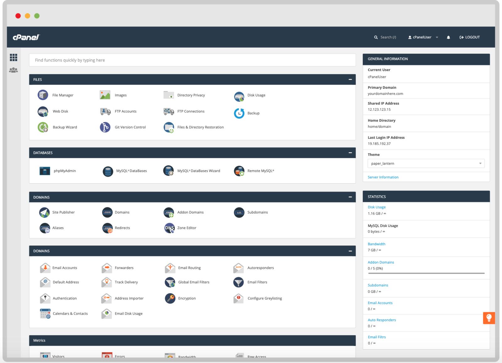 cPanel Management Screen