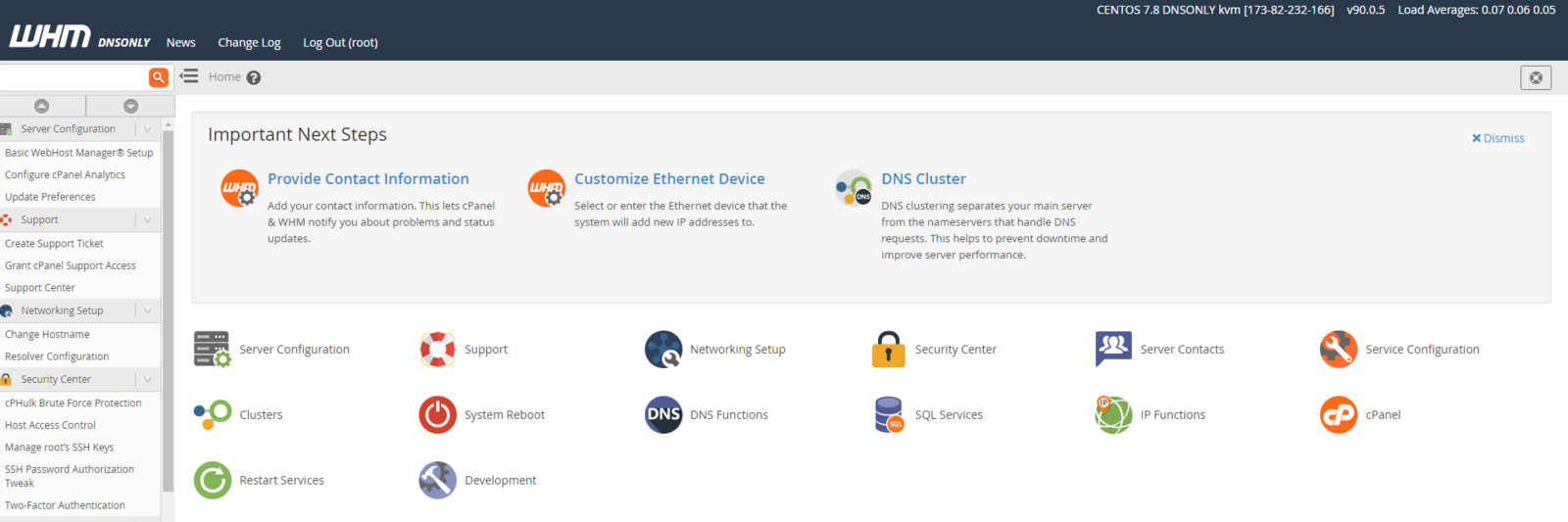 cPanel DNSONLY Management Screen