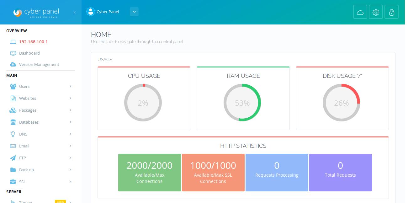 CyberPanel Management Screen