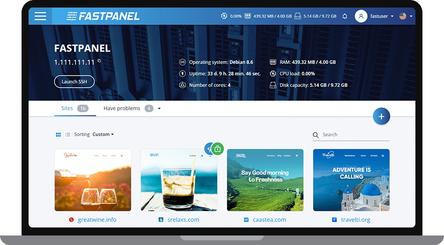FastPanel Management Screen