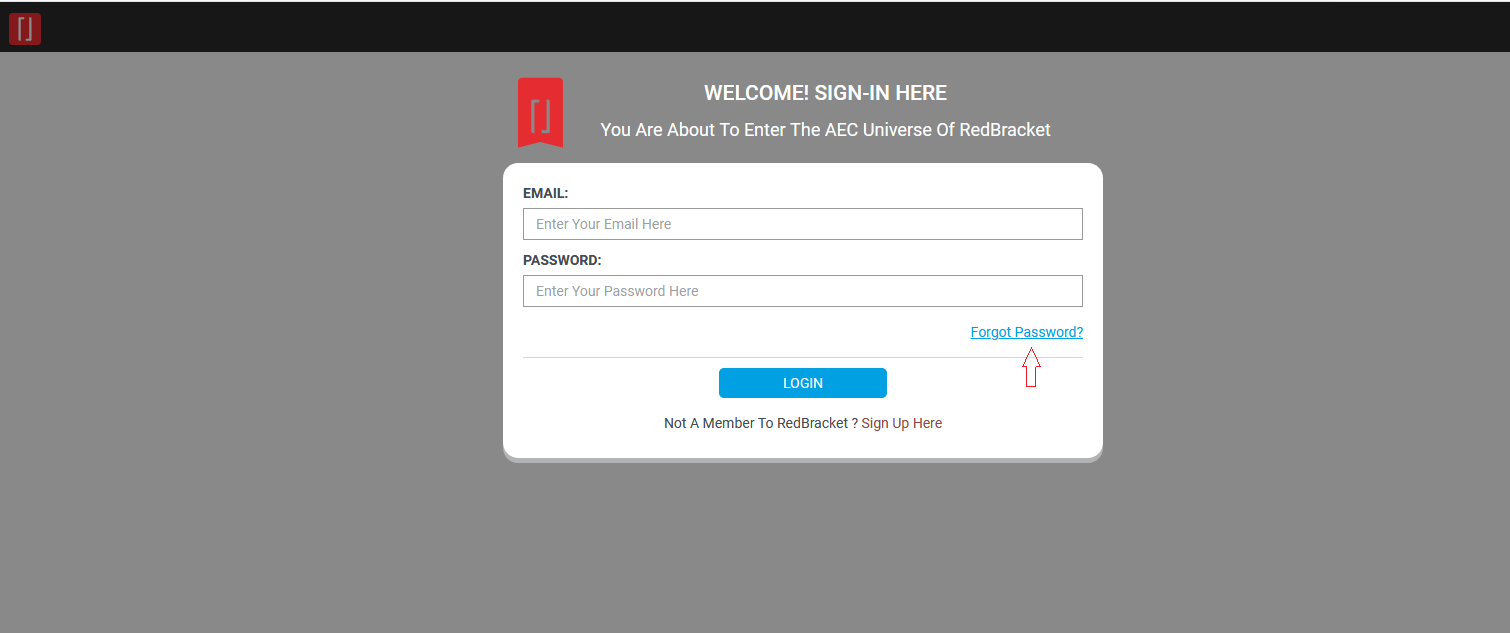 Redbracket HUB - Login Page